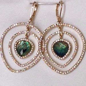 NIP Anne Klein Multistone Leverback Earrings